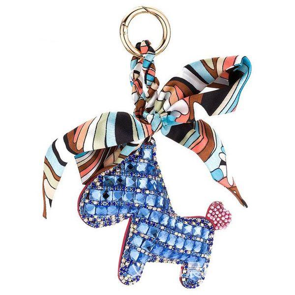 Crystal Little Pony Horse Bowknot Keychain Women Bag Pendant Charm Silk Scarves Pom pom Key Chain Buckle Key Ring Holder