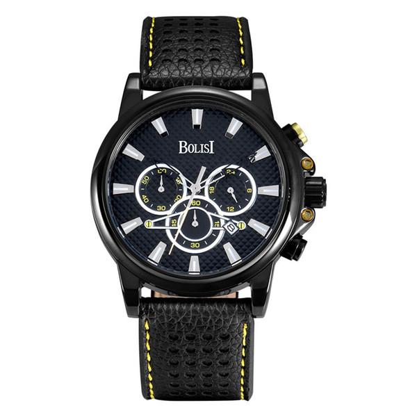 Fashion Men watches Black Genuine Leather quartz watch Band 3 Subdials working Watch Strap Calendar wristwatch for men