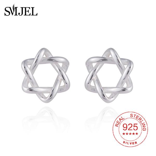 SMJEL 925 Sterling Silver David Star Stud Earrings Knot Stars Tiny pendientes For Women Girl Homme Bijoux Piercing Ear Jewelry