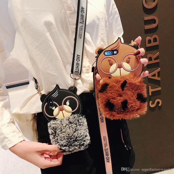 For iphone Cover Plush cartoon phone case With mobile phone lanyard for iphone 6/7/8/X
