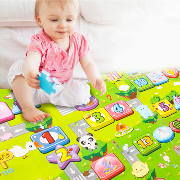 top popular Big Size Baby Crawling Play Mat Double-Site Baby Infant Climb Pad Fruit Letter Kids Play Game Mat Kids Toys Gift 180x 150cm 2021