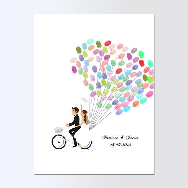 Free Custom Name Date Wedding Guest Book Bride Groom Bike Canvas Painting, DIY Fingerprint Guest Book, livre d'or de mariage