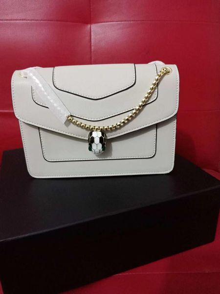 2018 famosa marca de lujo de cuero genuino Messenger Bag Girl Lady Designer cabeza de metal serpiente decorar pequeños bolsos de hombro bolsas