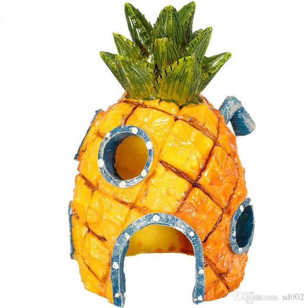 Aquarium Aménagement paysager Poissons Crevettes Crabes Abri Hip Hop Maison Embellir Ananas Maisons de tête Mignon Ornement 7 5jr gg