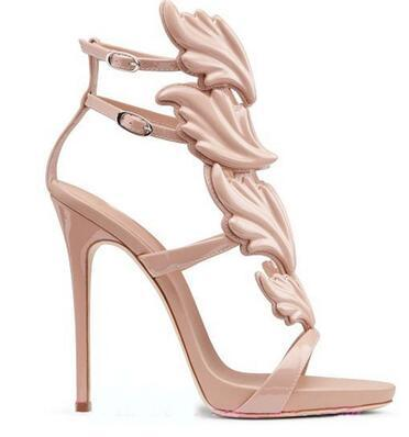 Newest 2018 Hot Selling Gold Silver Coline Cruel Embellished Wing High Heel Sandals Brand Gilded Cage Sandals Women Size 35-42