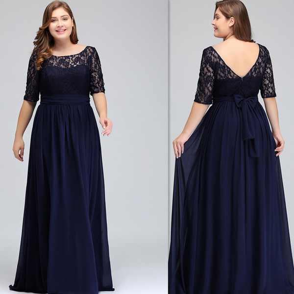 2019 Dark Navy Plus Size Bridesmaid Dresses With Sleeves A Line Sheer Floor  Length Maid Of Honor Gowns For Weddings Cheap For Big Size Women Lemon ...