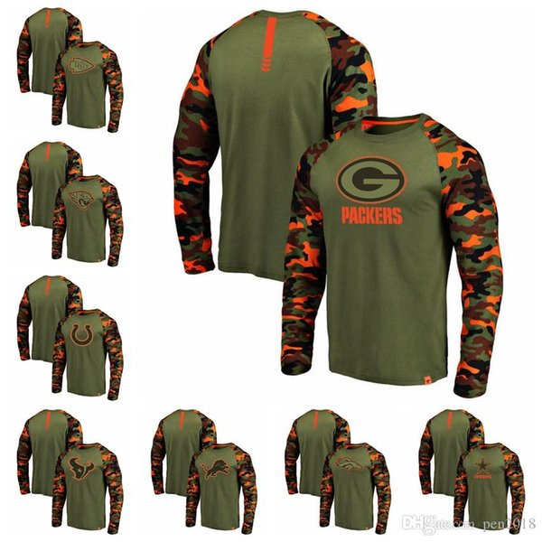 Die Dallas Cowboys der Männer Denver Broncos Detroit-Löwe-Green Bay-Verpacker Houston Texans Colts OliveCamo Recon Raglan-langes Hülsen-T-Shirt