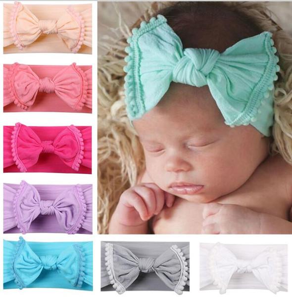 0-3 Jahre Baby Bogen Hairband Turban Kopf Wraps Foto Party Stirnbänder Headwear Baby Tiara Stirnband Haarschmuck KKA6213