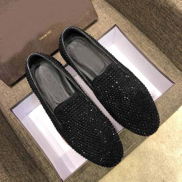 [Original Box] New Arrival Men Black Diamond Dress Loafers Drive Cow Leather Slip-On Casual Leisure Shoes Made In Italy Size 38-44