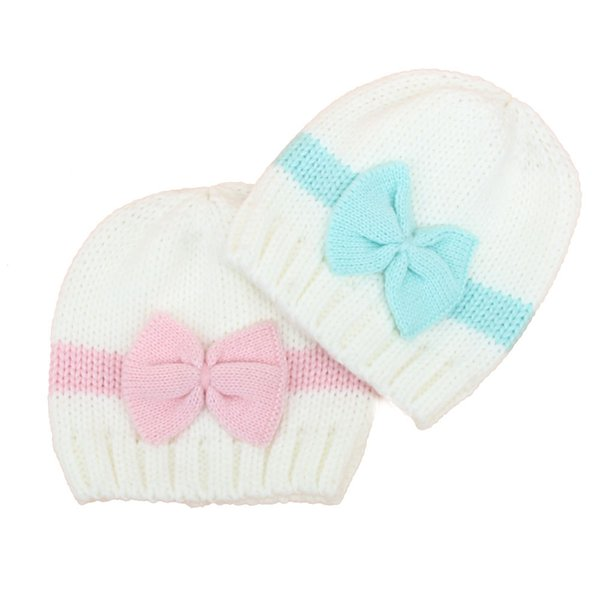 baby kids winter knitted beanie hat for infant newborn boys girls cap with bows