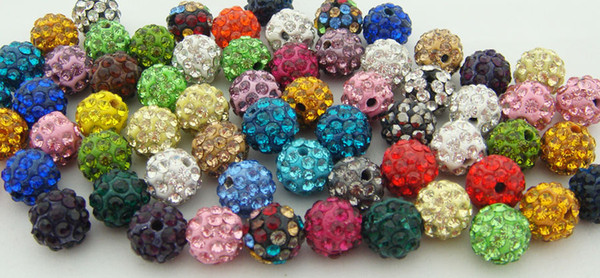Ucuz! Ücretsiz kargo 100 adet / grup 10mm MIX Mikro Açacağı CZ Disco Ball Kristal Boncuk Bilezik rhinestone Kolye takı Boncuk.