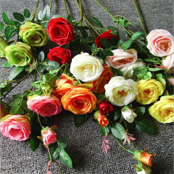Rosa artificial (5 cabezas / pieza) Rosas de simulación Rosa / crema / amarillo / naranja / rojo Rosa Flores para bodas Decoración de mesa de fiesta en casa