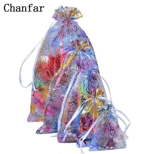 Chanfar Favor Wedding Organza Christmas Gift Bags Drawable Packaging Bags Pouches 7x9cm 9x12cm 10x15cm 13x18cm 200pcs