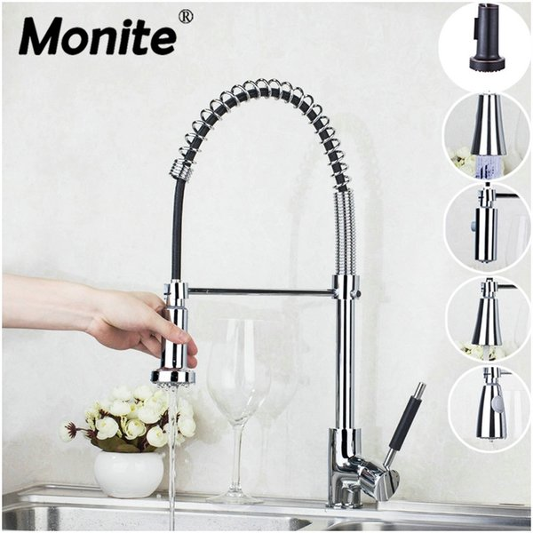 Monite LED Chrome Brass ORB Pull Out Down Rotated Spring Kitchen Basin Swivel Spout Vessel Sink Mixer Tap Kitchen Faucet Tap