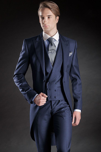 Men's gentleman tuxedo three-piece suit (jacket + pants + vest) men's single buckle gun collar collar suit wedding groom groomsmen dress