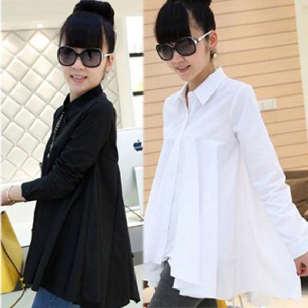 Blouses de maternité chemises vêtements à manches longues irrégulière Turn-down col chemise mignonne pour les femmes enceintes 2018 automne