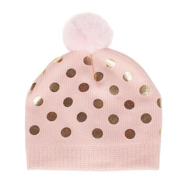 Baby hat cute dotted hair ball hat new fashion boys girls European and American children knit hat