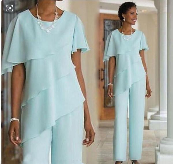 2018 nova mãe dos vestidos de noiva calças ternos casamento convidado vestido de seda chiffon de manga curta em camadas mãe da noiva pant ternos personalizado louco