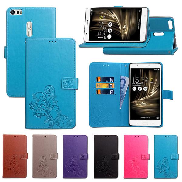 Cas de bascule pour support de couverture en cuir PU ZU680KL Ultra Asus Zenfone 3 chanceux quatre feuilles avec porte-carte portefeuille