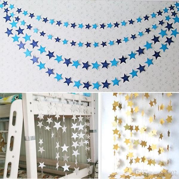 Papier guirlande cinq pointu étoile chaîne chaîne pour fête d'anniversaire de mariage tentures décoratives bannière bannière style cadeau 2 5bd ZZ