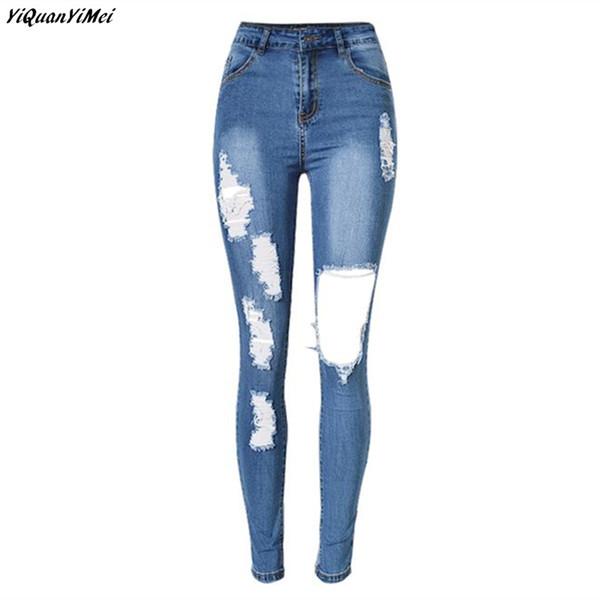 YiQuanYiMei Pencil Pants ripped jeans for woman Skinny high waist jeans woman Hole denim pants capris Distressed jean pantalon