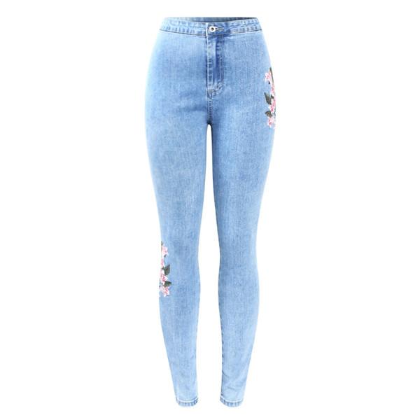 Nuovo arrivato Jeans a vita alta con ricamo Jeans donna grande taglia elastico in denim color skinny pantaloni pantaloni per le donne
