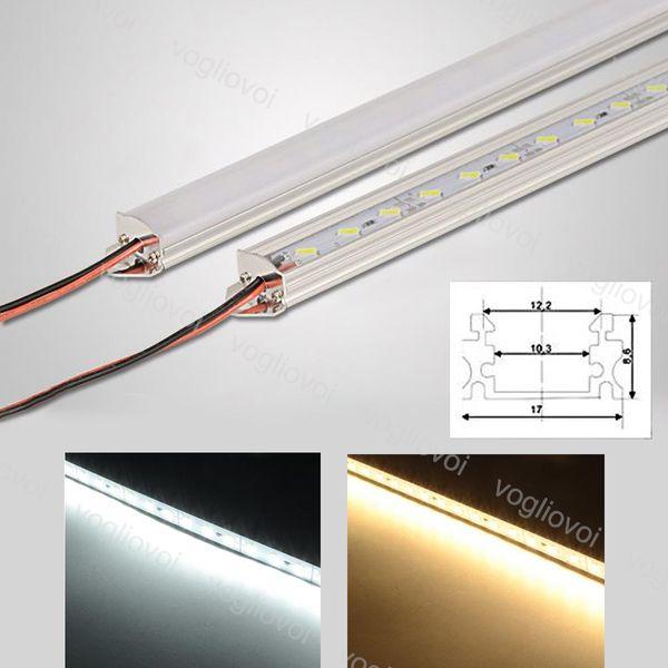 Sert Şerit Bar Işık 18 W DC12V SMD5730 Şerit 1 M 45 Fasulye Açı U Alüminyum Dolap Vitrin Için Sütlü Şeffaf Kapak Ile DHL
