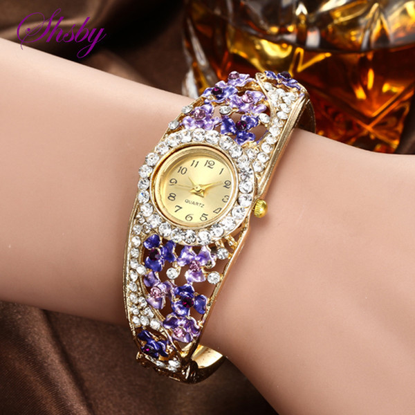 Shsby Renkli Takı Bilezik Saatler Casual Kuvars İzle lady çiçek Taklidi Saat Kadınlar Lüks Kristal Elbise Kol Saati