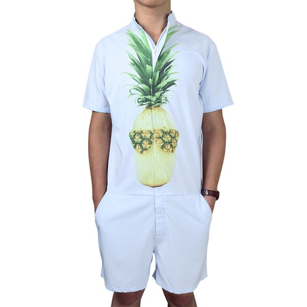 Mens Romper Jumpsuit Hoiday Playsuit Overalls One Piece Slim Fit Brand Clothing Men's Tracksuit Set Pineapple Print Sportswear
