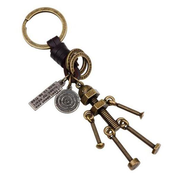 Vintage Men Adjustable Screw Robot Keychain Copper Alloy Genuine Leather Key Chains Hand Made Bag charm Holder