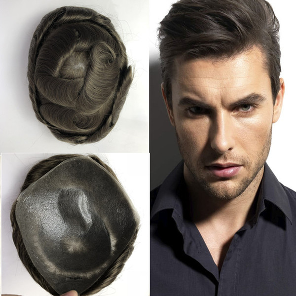Full Pu Mens Toupee Super Thin Skin Toupee for Men Replacement System None Lace Hairpiece 8x10 Brown Human Hair Men Wigs