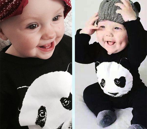 Outono Bebê Macacão Crianças Roupas de Bebê Menino Roupas de Bebê Panda Padrão Romper Roupas Menina Bebe conjunto de Roupas
