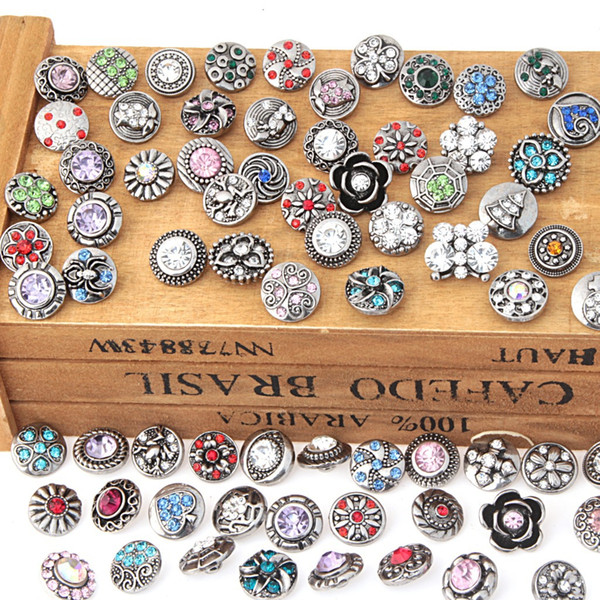 50pcs/lot Hot Styles 12mm Rhinestone Snap Button Charm Jewelry for Unisex Adjustable Snap Button Bracelet Accessories#S