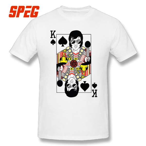 Cool Tees Shirt Elvis Presley Vegas Style Playing Card Men Tops O - Neck Short Sleeve T Shirt Oversize Style Teenage Fun T Shirt