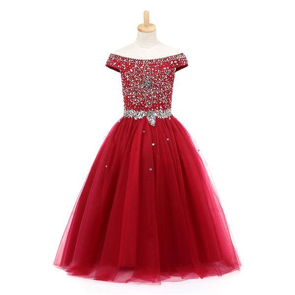 Festzugkleider des Burgunder-kleinen Mädchens Geburtstagsfeier 2020 Kinderformelle Kleidung Blumen-Ball-Mädchen-Kleid-Türkis bördelt Kristalle jugendlich Kinder 2019