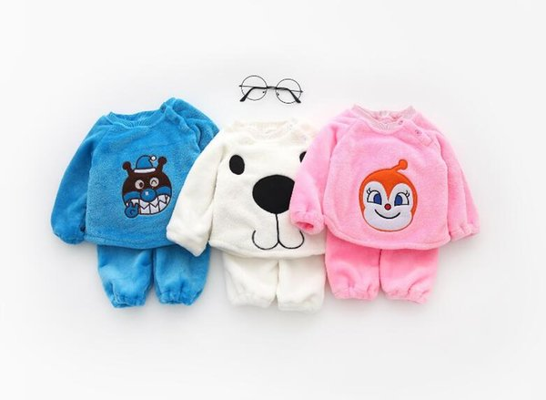 best selling 2018 Baby Boys and Girls Cartoon Superman Animal Baby Home Service Set Clothing Sets