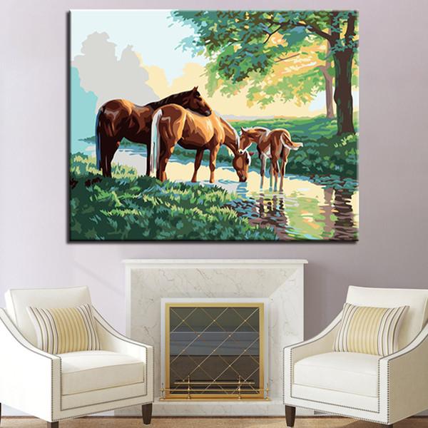 Satın Al Sayılarla Diy Boyama üç At Su çizim Setleri Içmek Için