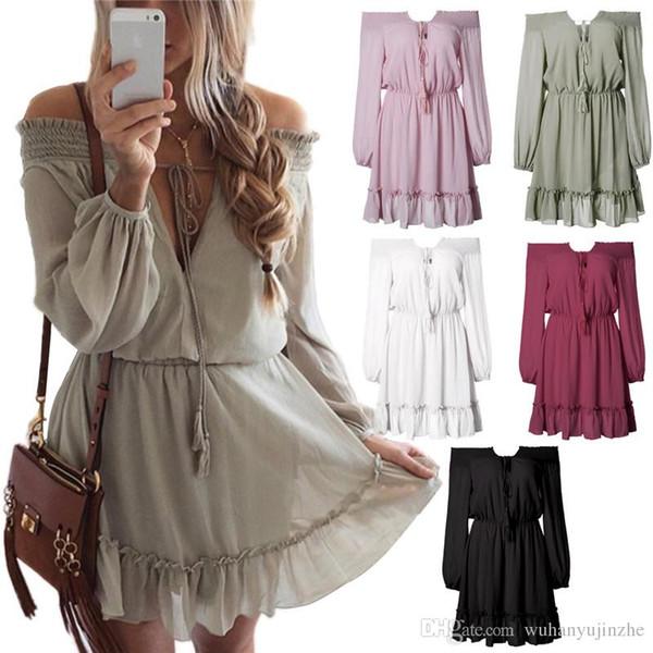5 Design Plus Size Summer Women Off Shoulder Mini Dress Waist Band V-Neck  Long 11c1dc2a1