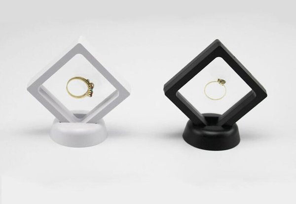 Home Black White Suspended Floating Display Case Jewellery Ring Coins Gems Artefacts Stand Holder Box LX3519