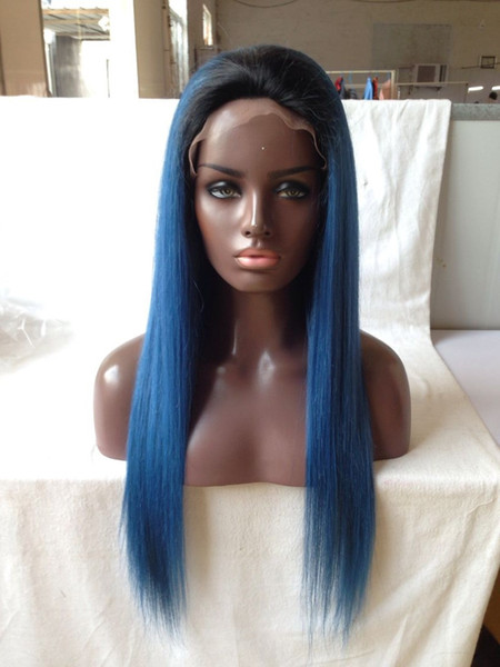 dark roots 1b blue silky straight Vrigin human hair full lace wig and lace front wig ombre blue human hair wig silky straight Free shipping