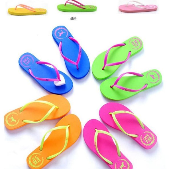 Girls love Pink Sandals Candy Colors Pink Letter Slippers Shoes Summer Beach Bathroom Casual Rubber Slides Flip Flop Sandals 1 lot=1pair=2p