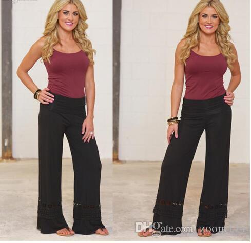 Women Ladies Vintage Loose High Waist Long Trousers Lace Patchwork Casual Cotton Palazzo Pants Wide Leg Pants pantalones