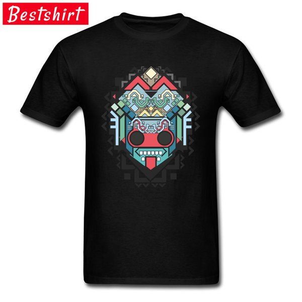 Men O-Neck Tops & Tees Summer 100% Cotton Fabric Comfortbale T-shirts Printed Abstract Geometric Colored Inca Art Clothing Shirt