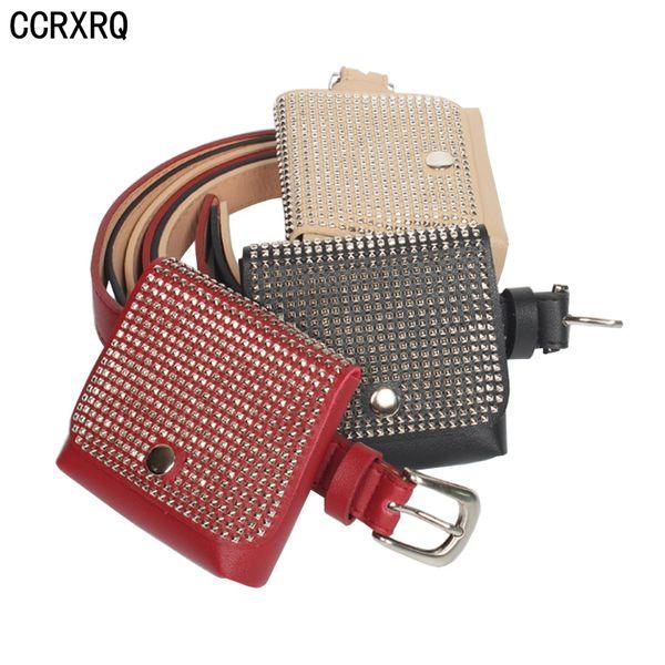 CCRXRQ Women Belt Bag 2018 New Fashion Fanny Pack Girl Handy Belt Lady PU Leather Waist Bags Rivet Hip Hop Bag Small Coin Purse