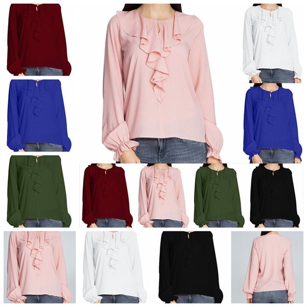 Petal collar sweet long-sleeved loose chiffon shirt, white, pink, black, royal blue, military green, wine red, support mixed batch