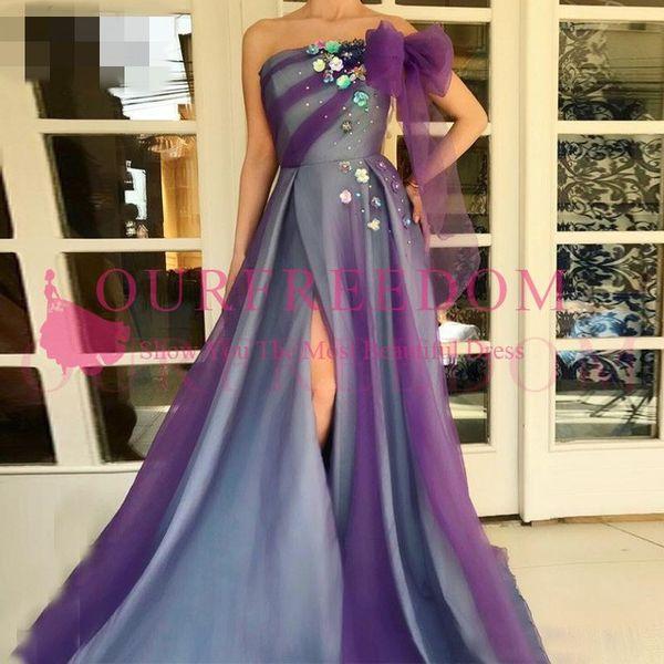 Robe de soiree Fairy Purple Long Evening Dress Sexy High Split Hand Made Flower Ruffles Formal Dress Abendkleider Prom Gowns