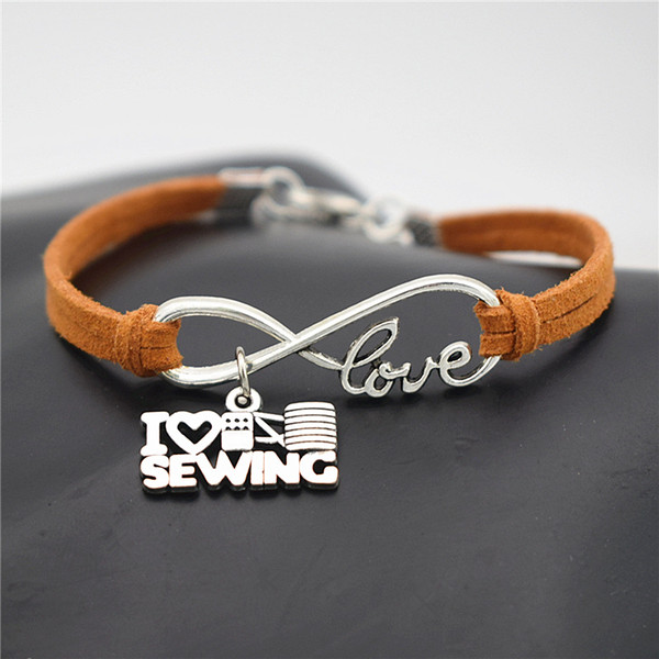 Dropshipping Brown Leather Suede Charm Bracelet Silver Color Infinity I Love Sewing Pendant Bracelets Bangles Fashion Women Men Jewelry Gift