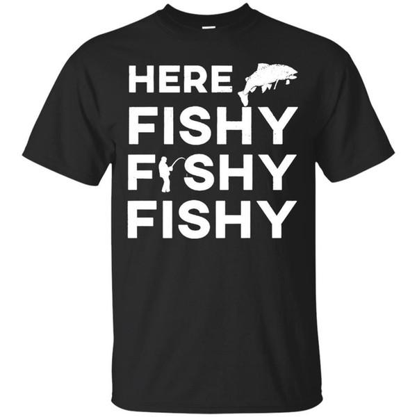 Cadeau de pêcheur drôle ici T-shirt de poisson Fishy truite T-shirt unisexe T-shirt Cool drôle hommes haute qualité