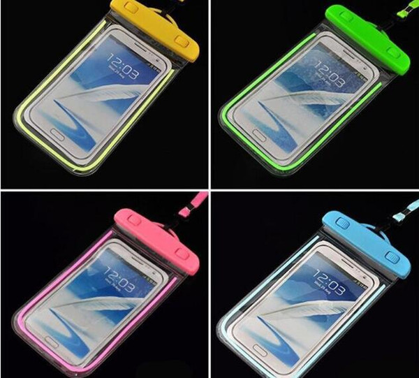 best selling noctilucent Waterproof bag PVC Protective Mobile Phone Bag Pouch case For Diving Swimming Sports For iphone 6 7 6 7 plus S 6 7 NOTE 7