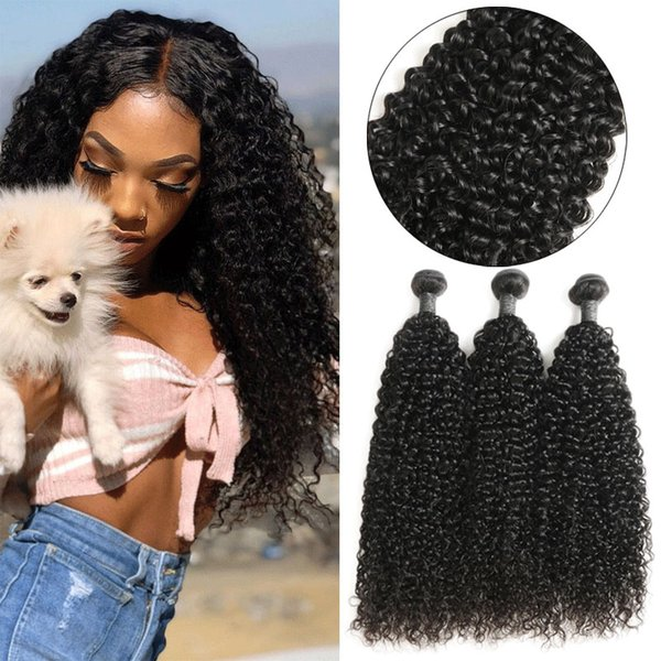 Indian Jerry Curl Human Hair 3 Pcs Jerry Curly Human Hair Weave Bundles Natural Color Remy Hair Extentions 8-24 Inch